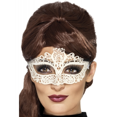 Lace Filigree Eye Mask - White title=