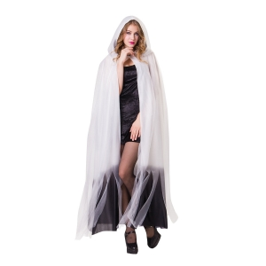 Hooded White Cape with Black Ombre Fin..