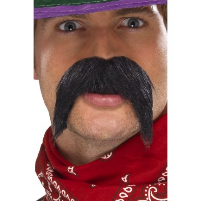 Mexican Gringo Moustache - Black title=