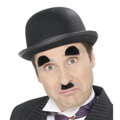 Chaplin Moustache and Eyebrows - Black title=