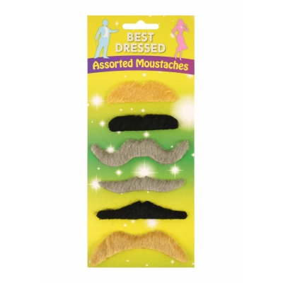 Assorted Fake Moustaches - 6 Pack title=