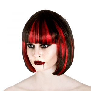 Bloodlust Vampire Wig - Black with Red..