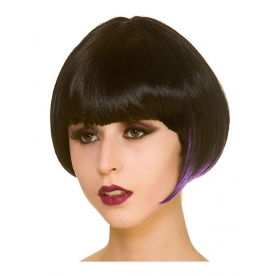 Witch Bob Wig - Black with Purple Streaks title=