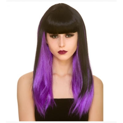 Dark Fantasy Wig - Black with Purple Streaks title=