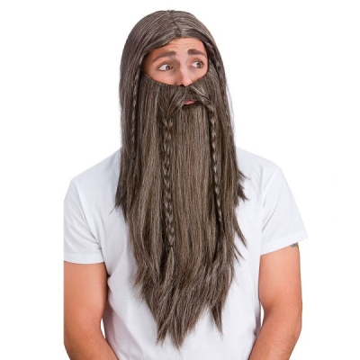 Deluxe Brown Wig and Long Beard - Hagrid Style title=
