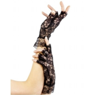 Fingerless Lace Gloves - Black title=