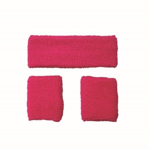 80's Neon Pink Sweatband Set