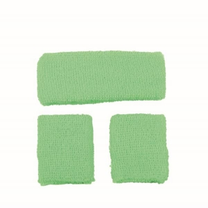 80's Neon Green Sweatband Set