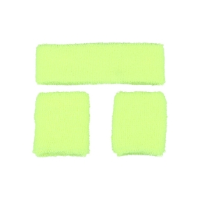80's Neon Yellow Sweatband Set
