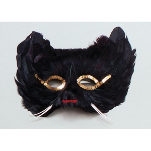 Feather Cat Eye Mask - Black
