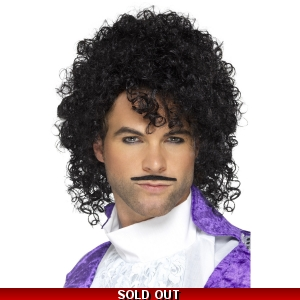 80's Purple Musician Wig and Moustache..