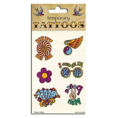 Hippie Themed Temporary Tattoos title=