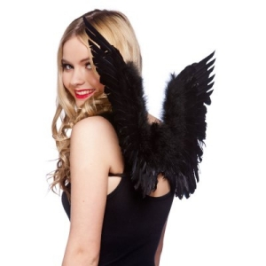 Black Feather Angel Wings  - Small