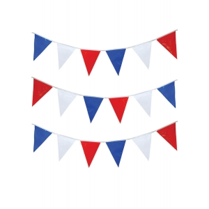 Blue, Red & White Triangular Bunting 15m