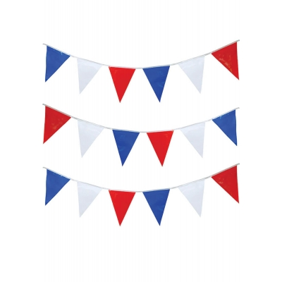 Blue, Red & White Triangular Bunting - 15m title=