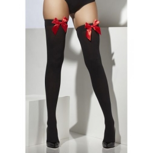 Opaque Hold-Ups - Black with Red Bow