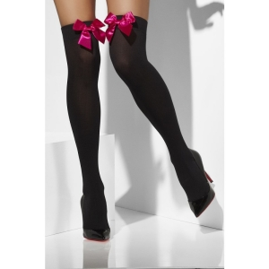 Opaque Hold-Ups - Black With Pink Bow