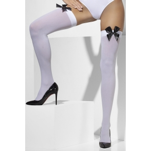 Opaque Hold-Ups - White With Black Bow