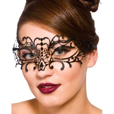 Metal Filigree Eye Mask - Black title=