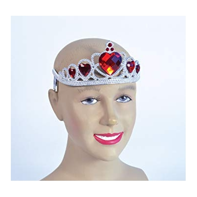 Tiara - Silver with Red Jewel Hearts title=