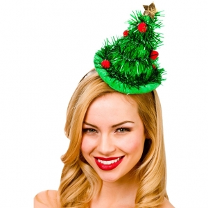 Mini Christmas Tree Hat on Headband