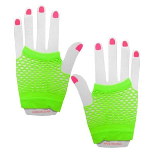 Neon Fishnet Gloves - Green