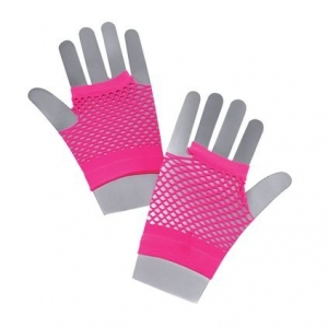 Neon Fishnet Gloves - P..