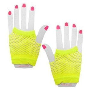 Neon Fishnet Gloves - Yellow