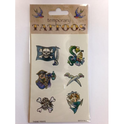 Pirate Theme Temporary Tattoos title=
