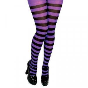 Opaque Tights - Purple & Black Striped