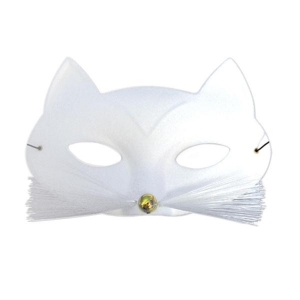 Cat Eye Mask with Whiskers - White