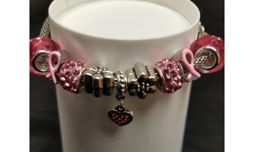 Bracelet, Heart Charm, Breast Cancer Awareness