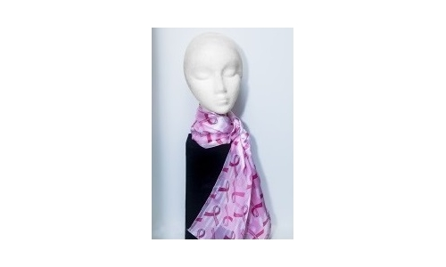 "Scarf, ""Breast Cancer Awareness"" - White with Flared Pink Ribbons"