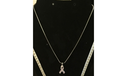 "Necklace, Pink Rhinestone Ribbon Pendant- 16"" Silver Plated Small/Large"