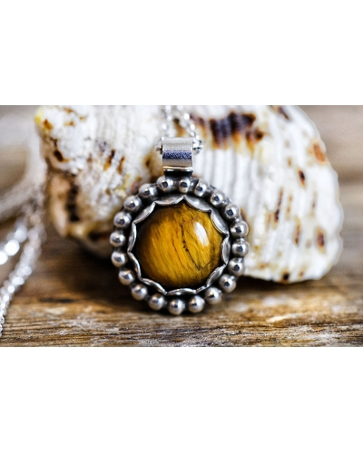 Golden Tiger's Eye Silver Necklace