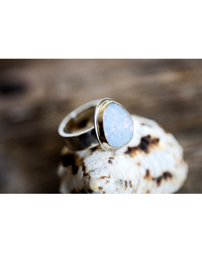 Australian Opal 18K Gold & Sterling Silver Ring