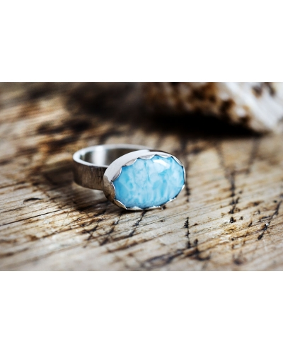 Deep Blue Larimar Sterling Silver Ring
