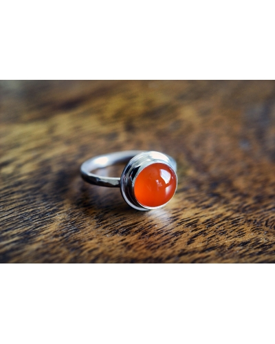 Round Carnelian Sterling Silver Ring