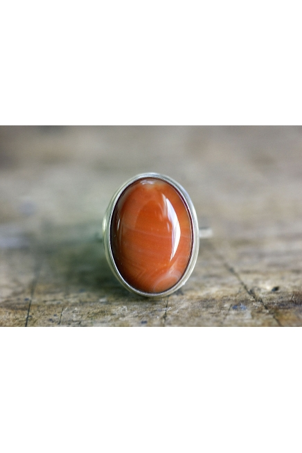 Oval Fire Agate Sterling Silver Ring