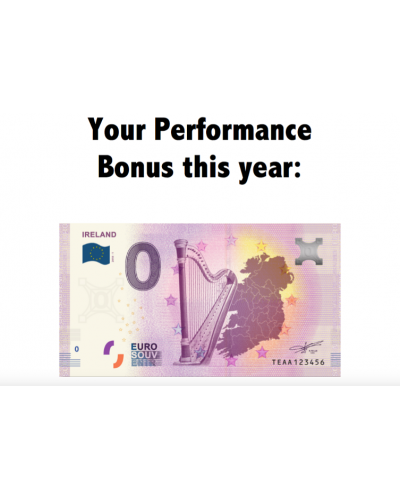 """Your Performance Bonus"" certificate with Zero Euro Banknote"