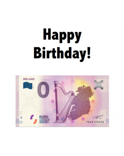 """Happy Birthday"" certificate with Zero Euro Banknote"