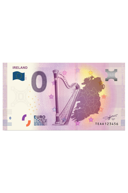 Zero Euro banknote with celtic Harp