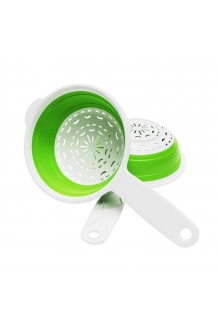 Colander with Handle - Colander with Handle - Collapsible Colander Strainer Green and White for draining Vegetables, Fruits and Pasta kitchen Tool