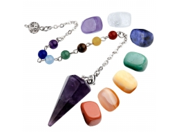 7 Chakra Healing Crystal Tumbled Palm Stones And Natural Amethyst Dowsing Pendulum