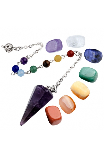 7 Chakra Healing Crystal Tumbled Palm Stones And Natural Amethyst Dowsing Pend..