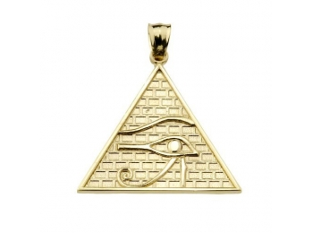 Egyptian Ankh Crosses Fine 10k Yellow Gold Eye of Horus Pyramid Charm