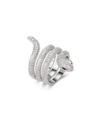 Silver Plated Crystal Twisted Snake Ring