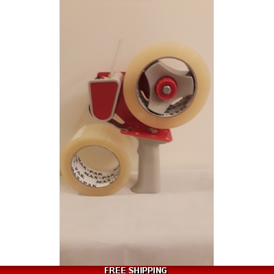 "Clear Packing Tape 2 Rolls 2"" x 110 yd and Tape Gun Dispenser title="