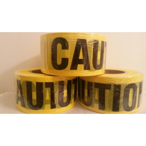2 ROLLS YELLOW CAUTION BARRICADE TAPE 2 MIL 3