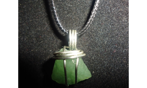 Green Quartz And Sterling Necklace 25x14x10 MM  Hand made 923E